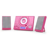 Микросистема Auna MC-120 вертикальный проигрыватель компакт-дисков USB AUX MP3 Pink