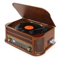 Ретро музыкальный центр Auna Belle Epoque 1908 USB CD MP3 винил Wood