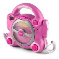 Детский CD-плеер Auna Pocket Rocker караоке, с микрофонами Pink