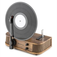Вертикальный проигрыватель винила Auna Verticalo S ретро дизайн USB MP3-Line Wood