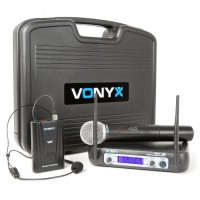Набор беспроводных микрофонов Vonyx WM512C 2-канальный УКВ, дисплей, кейс