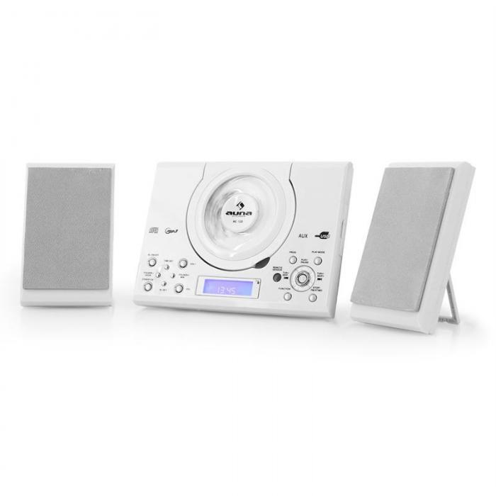 Микросистема Auna MC-120 вертикальный проигрыватель компакт-дисков USB AUX MP3 White NCDNDYNPW