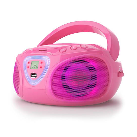 Компактный бумбокс Auna Roadie Boombox CD USB MP3 AM / FM-радио Bluetooth 2.1 LED Pink