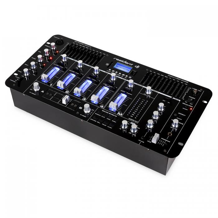 4-канальный DJ-микшер Resident dj Kemistry 3 WH Bluetooth USB SD Phono Black DMUSLN