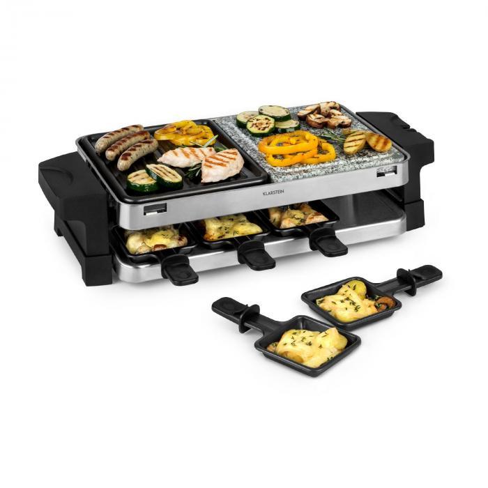 Электрогриль Klarstein Sirloin Raclette 1500 Вт алюминий / камень 8 порций, LED (не комплект)