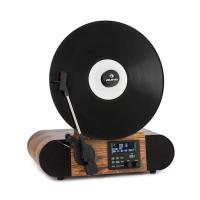 Вертикальный проигрыватель винила Auna Verticalo SE DAB Retro Turntable DAB + FM-тюнер USB BT AUX Будильник VTLILSCRA0-9