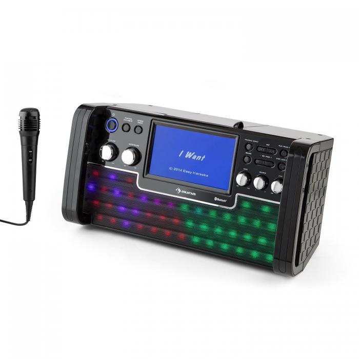 """Караоке-система Auna DiscoFever LED Bluetooth 7 """"TFT-Screen CD USB BK"""