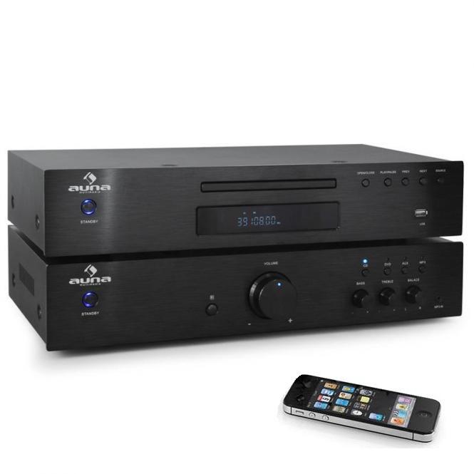 Комплект Auna Elegance Tower BT 2.0 HiFi MP3 CD усилитель 600W Black