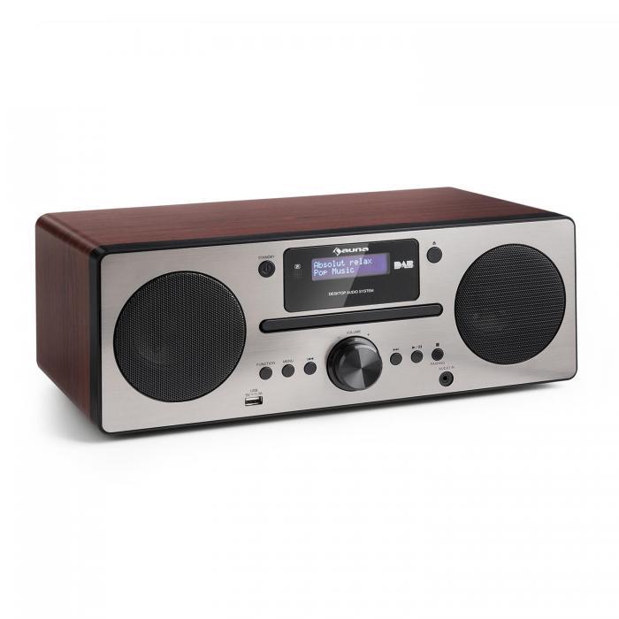 Микросистема Auna Harvard DAB / DAB + FM-тюнер CD-плеер USB Walnuss