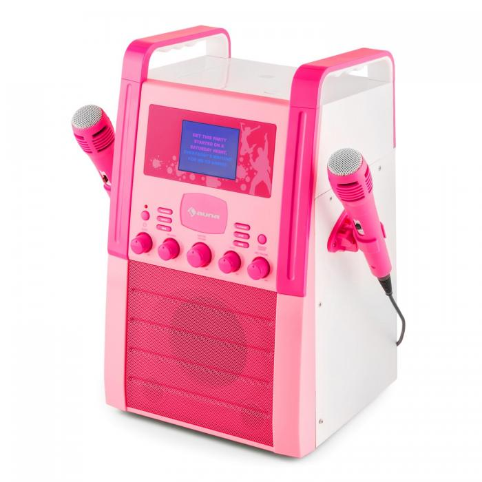 Караоке-система AUNA KA8P-V2 PK MP3 CD-плеер AUX 2 x микрофон Pink