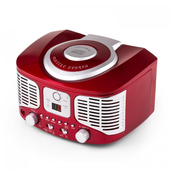Ретро-CD-плеер auna RCD 320 FM AUX Red